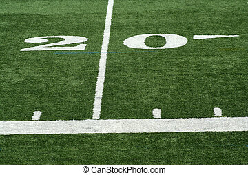 Football twenty yard mark