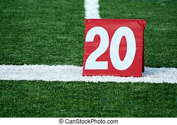 Football twenty yard marker