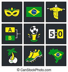 football, vecteur, ensemble, icônes