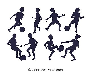 football, vecteur, players., ensemble, illustration, silhouettes