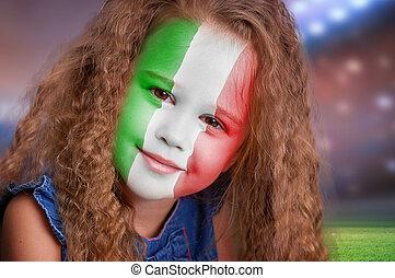 football, ventilateur, petite fille, portrait, à, drapeau,...