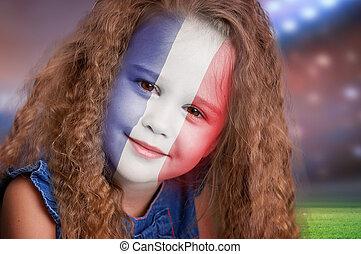 football, ventilateur, petite fille, portrait, à, drapeau...