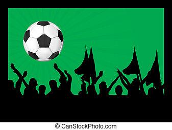 football, ventilateurs, balle, foule