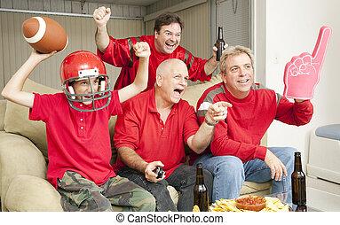 football, ventilatori, -, tocchi giù