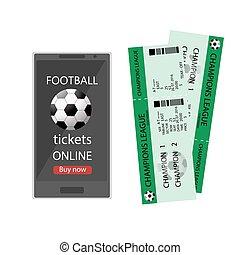 football, via, tickets., infographic., football, moderne, illustration, téléphone, vecteur, ligne, carte, online., internet, design., billet, intelligent, ou, achat, réservation