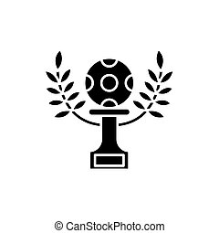 Football victory black icon, vector sign on isolated background. Football victory concept symbol, illustration
