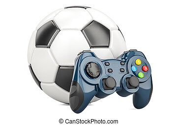 Football, Video Game concept. Soccer ball with gamepad, 3D rendering