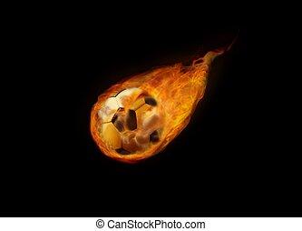 football, voler, flamme, balle
