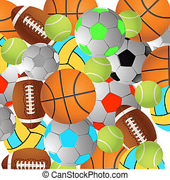 Football, volleyball, tennis and Rugby football balls on a white background.Vector