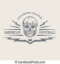 Football with a skull wearing a helmet.