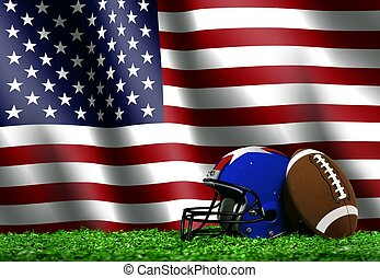 Football with American Flag