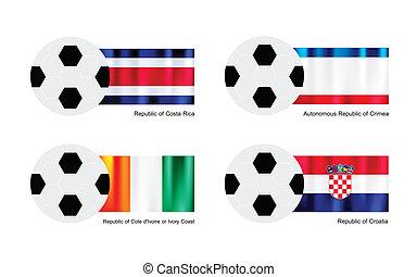 Football with Costa Rica, Crimea, Ivory Coast and Croatia Flag