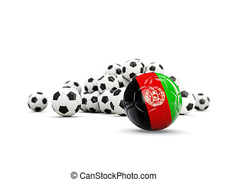 Football with flag of afghanistan isolated on white