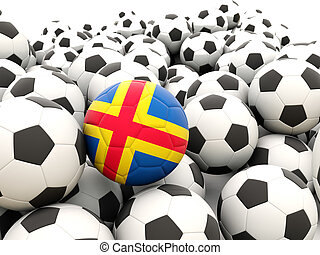 Football with flag of aland islands