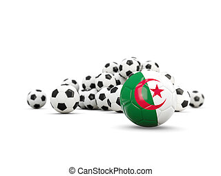 Football with flag of algeria isolated on white