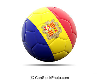 Football with flag of andorra