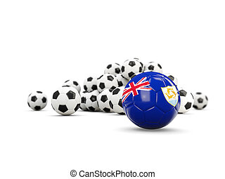 Football with flag of anguilla isolated on white