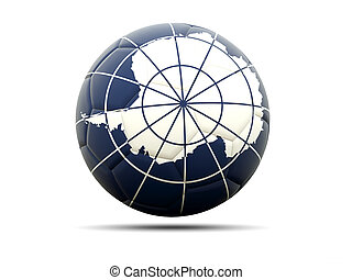 Football with flag of antarctica
