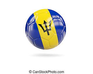 Football with flag of barbados
