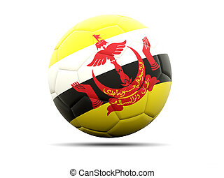 Football with flag of brunei