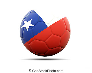 Football with flag of chile