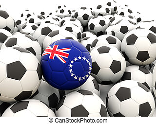 Football with flag of cook islands