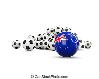 Football with flag of cook islands isolated on white. 3D illustration
