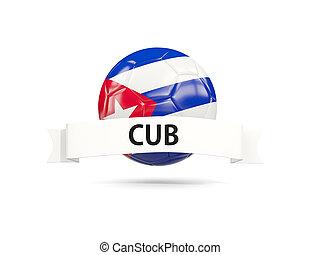 Football with flag of cuba