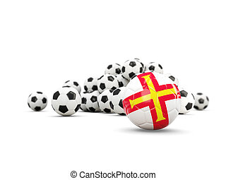 Football with flag of guernsey isolated on white