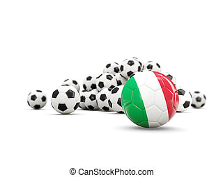 Football with flag of italy isolated on white