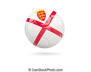 Football with flag of jersey isolated on white. 3D illustration