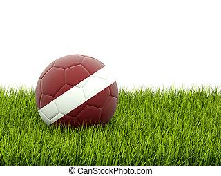 Football with flag of latvia