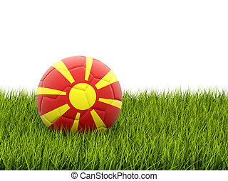 Football with flag of macedonia on green grass