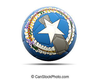 Football with flag of northern mariana islands