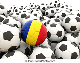 Football with flag of romania