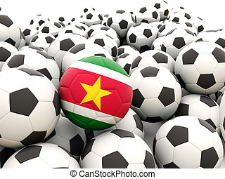 Football with flag of suriname