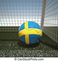 Football with flag of Sweden