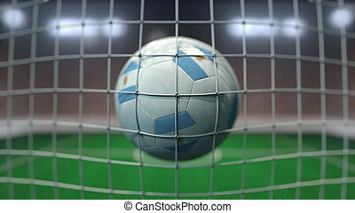 Football with flags of Argentina hits goal net. 3D rendering