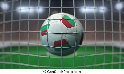 Football with flags of Bulgaria hits goal net. Slow motion 3D animation