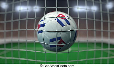 Football with flags of Cuba hits goal net. 3D rendering