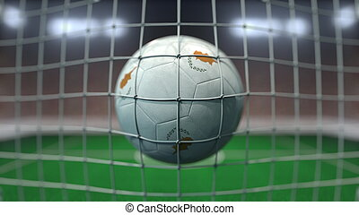 Football with flags of Cyprus hits goal net. 3D rendering