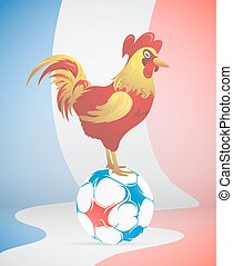 Football with France symbol red Rooster - Cock on top of...