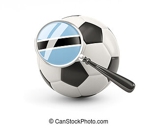 Football with magnified flag of botswana