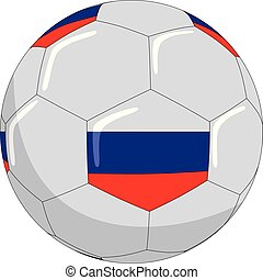 Football with the symbols of the Russian flag.