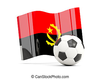 Football with waving flag of angola isolated on white
