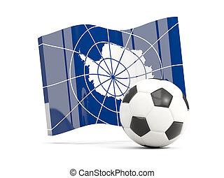 Football with waving flag of antarctica isolated on white
