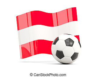 Football with waving flag of austria isolated on white