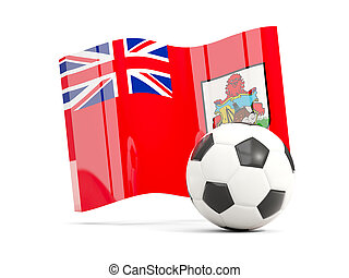 Football with waving flag of bermuda isolated on white