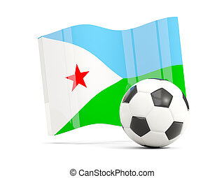 Football with waving flag of djibouti isolated on white