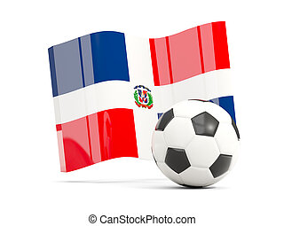 Football with waving flag of dominican republic isolated on white